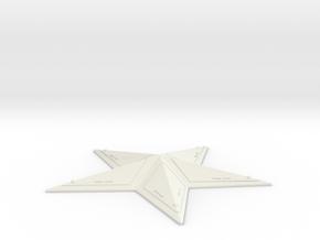 "Captain America Chest Star (3.5"" wide) in White Natural Versatile Plastic"