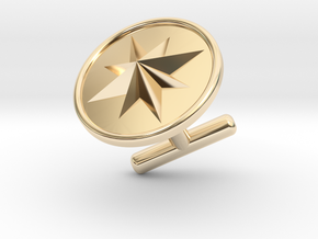 Cufflink - Wind Rose in 14k Gold Plated Brass