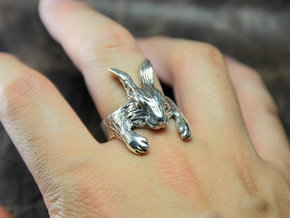 Rabbit Hug Ring in Polished Silver