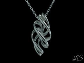 Rosett Two Pendant in Polished Silver: Small