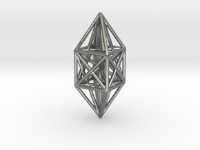10 node complete graph ornament in Natural Silver
