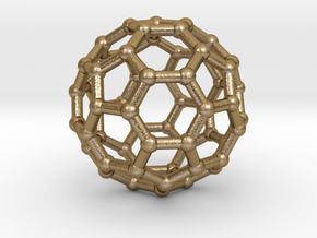 Buckyball pendant in Polished Gold Steel