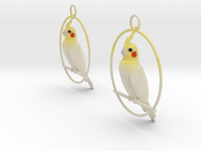 Cockatiel Earrings in Matte Full Color Sandstone
