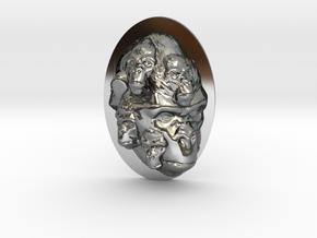Gorilla Multi-Faced Caricature (006) in Fine Detail Polished Silver
