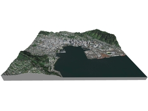 Colored Map of Downtown Wellington, New Zealand  in Matte Full Color Sandstone