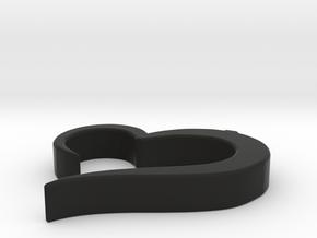 Heart_pendant in Black Premium Versatile Plastic