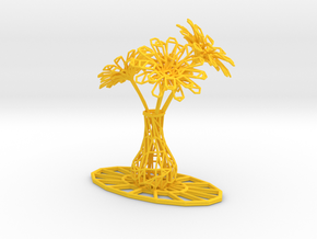 Flower vase in Yellow Processed Versatile Plastic