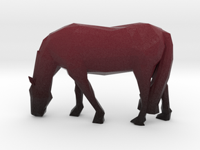 Low Poly Grazing Horse in Natural Full Color Sandstone