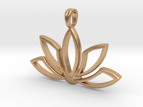 Lotus Charm Pendant Necklace 14k Gold in Natural Bronze