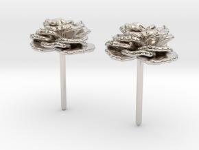 Carnation Flower Earrings in Rhodium Plated Brass