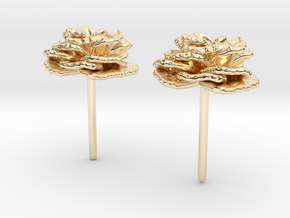 Carnation Flower Earrings in 14k Gold Plated Brass