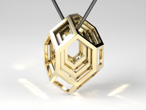 Encompassing Gem - Pendant in Polished Brass (Interlocking Parts)
