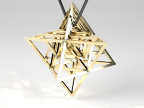 Encompassing Tetrahedrons - Pendant in Polished Brass (Interlocking Parts)