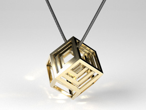 Encompassing Diamond - Pendant in Polished Brass (Interlocking Parts)