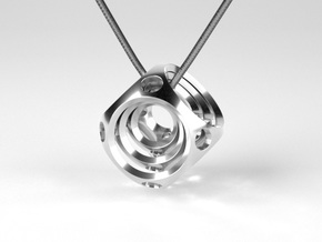 Encompassing Spheres - Pendant in Polished Silver (Interlocking Parts)