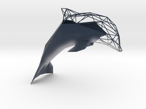 Semiwire Low Poly Dolphin in Natural Full Color Sandstone