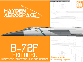 B-72F Hypersonic Strategic Bomber in Black Natural Versatile Plastic: 1:300