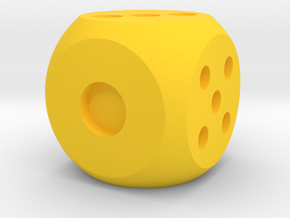 die solid interior balanced rounded edges in Yellow Processed Versatile Plastic: Medium