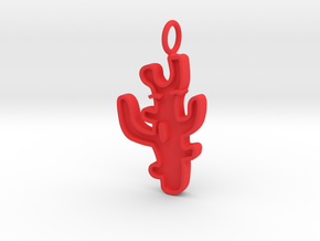Funny Coral Pendant (Charm Bracelet, Keychain) in Red Processed Versatile Plastic