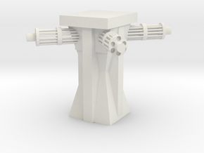 Sci-fi Machine Gun Tower in White Natural Versatile Plastic
