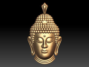 Buddha Head pendant in 14k Gold Plated Brass