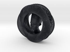 Celtic Knot Curve Art + Nefertiti (001a) in Black Professional Plastic