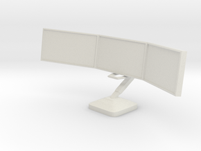 1:18 Scale Monitor Array (NON-ARTICULATED) in White Natural Versatile Plastic