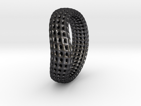 torus wireframe RING 03StackHoles in Polished and Bronzed Black Steel
