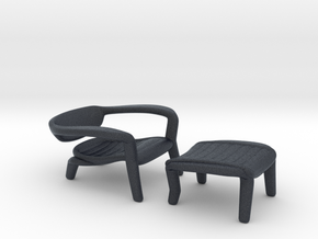 Miniature ICONA Lounge Chair - İsmet Cevik in Black PA12: 1:12