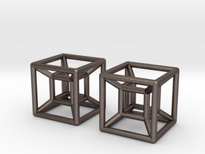Two Hypercubes in Polished Bronzed Silver Steel