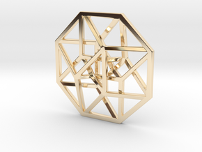 "4D Hypercube (Tesseract) small 1.4"" in 14K Yellow Gold"