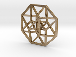 "4D Hypercube (Tesseract) small 1.4"" in Polished Gold Steel"