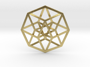 "4D Hypercube (Tesseract) 2.5"" in Natural Brass"