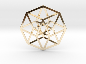 4D Hypercube (Tesseract) in 14K Yellow Gold