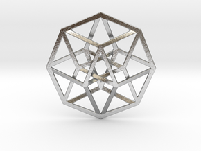 4D Hypercube (Tesseract) in Natural Silver