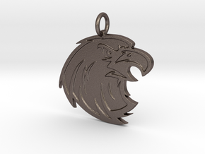 Falcon Mascot Pendant in Polished Bronzed-Silver Steel