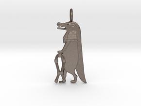 Taweret / Thoêris amulet in Polished Bronzed-Silver Steel