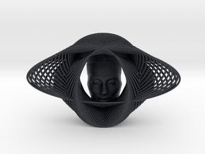 Wire Curve Art + Nefertiti (001b) in Black Professional Plastic