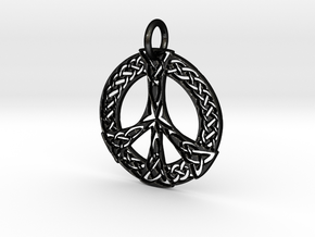Celtic Peace Pendant in Matte Black Steel: Extra Small