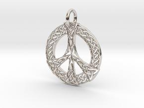 Celtic Peace Pendant in Platinum: Large