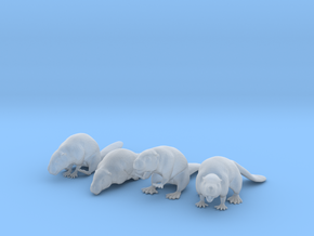 Beaver Set of 4 Poses in Smooth Fine Detail Plastic: 1:48 - O
