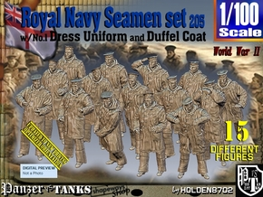 1/100 Royal Navy Seamen DC+No1 Set205 in Smooth Fine Detail Plastic