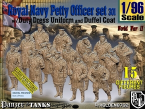 1-96 Royal Navy DC Petty Officers Set301 in Smooth Fine Detail Plastic