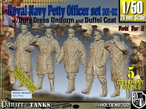 1/50 Royal Navy DC Petty OffIcer Set301-02 in Smooth Fine Detail Plastic