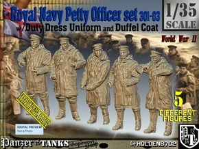 1/35 Royal Navy DC Petty OffIcer Set301-03 in Smooth Fine Detail Plastic