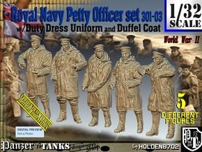 1/32 Royal Navy DC Petty OffIcer Set301-03 in Smooth Fine Detail Plastic