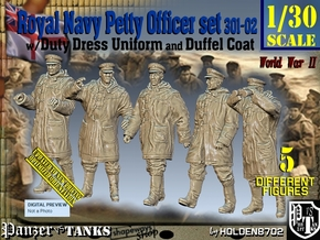 1/30 Royal Navy DC Petty OffIcer Set301-02 in White Natural Versatile Plastic