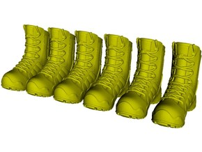 1/16 scale military boot C pairs x 3 in Smooth Fine Detail Plastic