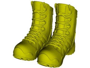 1/18 scale military boots C x 1 pair in Smooth Fine Detail Plastic