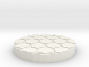 "Honeycomb 1"" Circular Miniature Base Plate in White Natural Versatile Plastic"